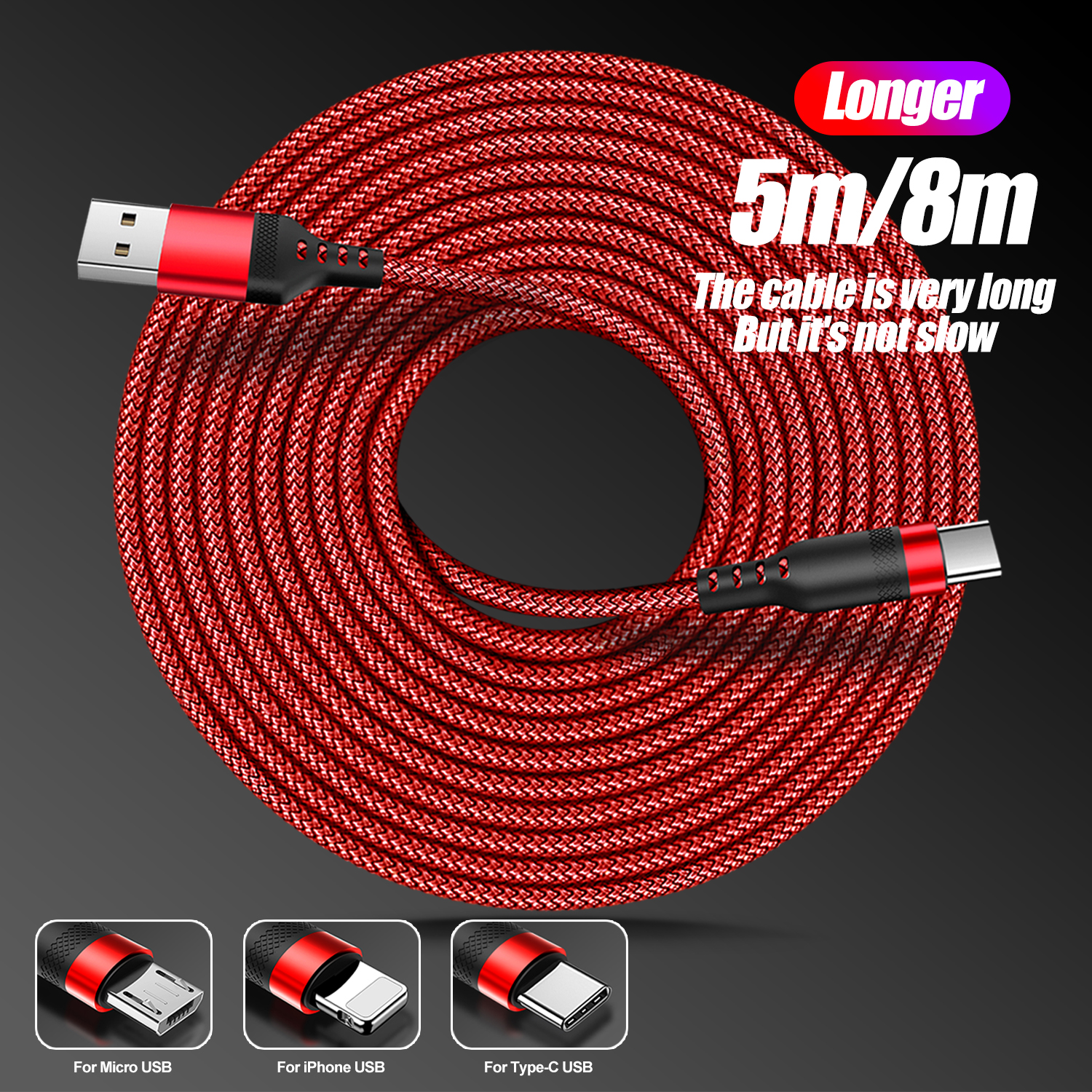 5m/8m Long Charging Cable for Lightning/Type C/USB Micro Durable Nylon Braided Charging Wire for IOS/Android phone Fast Charger