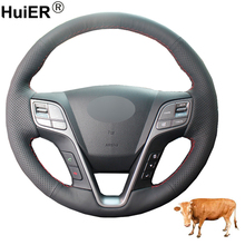Hand Sewing Car Steering Wheel Cover Volant Funda Volante Top Cow Leather For Hyundai Santa Fe 2013-2017 2018 ix45 2013-2016