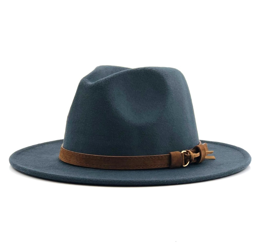 H6c2bf947f18b4db4b50c0f516b60c370U - Women Men Wool Fedora Hat With Leather Ribbon Gentleman Elegant Lady Winter Autumn Wide Brim Jazz Church Panama Sombrero Cap