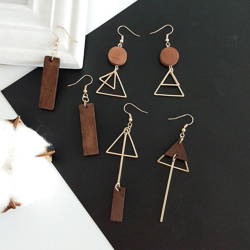 Simple geometric wood triangular asymmetric earrings