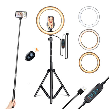 10inch 160CM Ring light with stand phone holder tripod for Live Stream/Makeup,Led Camera Ringlight for YouTube Video/Photography