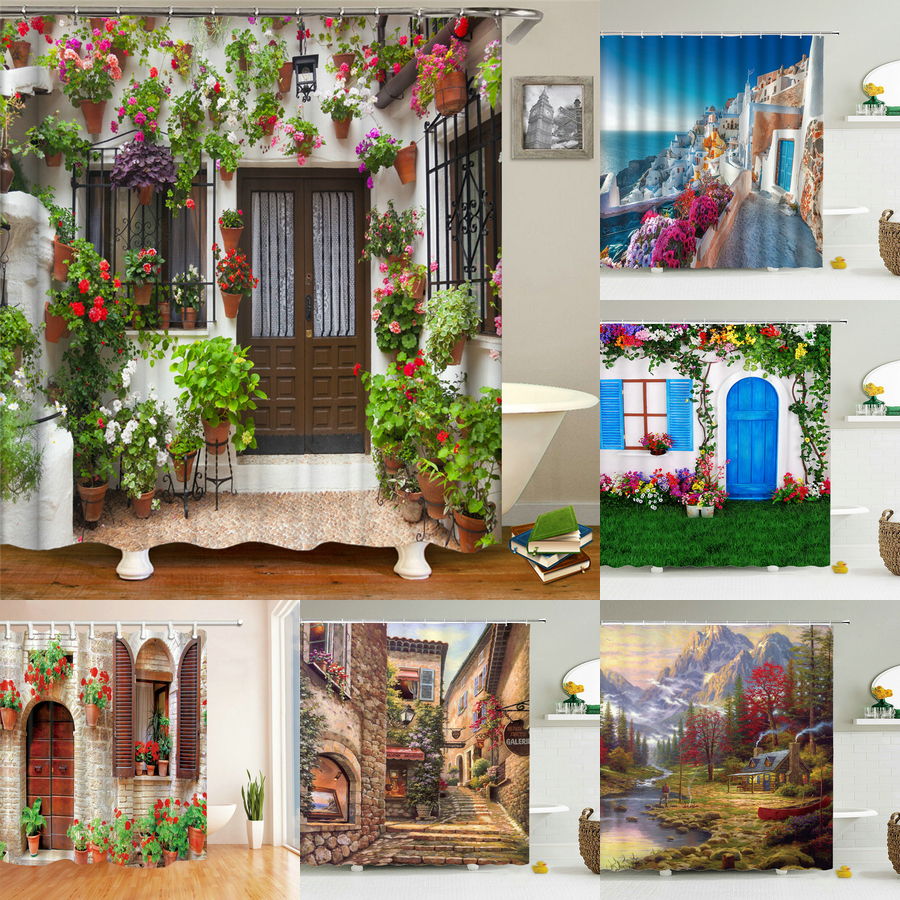Garden Flowers Scenery Shower Curtains Bath Curtain Waterproof Bathroom Home Decor Washable Fabric Bathroom Screens