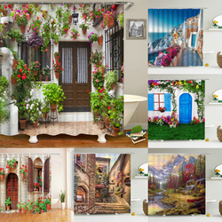 Ogród kwiaty dekoracje zasłony prysznicowe zasłona wanny wodoodporna łazienka Home Decor zmywalna tkanina łazienka Boor ekrany