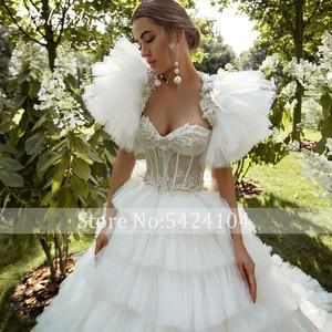Image 4 - ロマンチックな恋人のネックアップリケ花嫁夜会服のウェディングドレス 2020 高級レースビーズのティアード裁判所の列車の王女の花嫁衣装