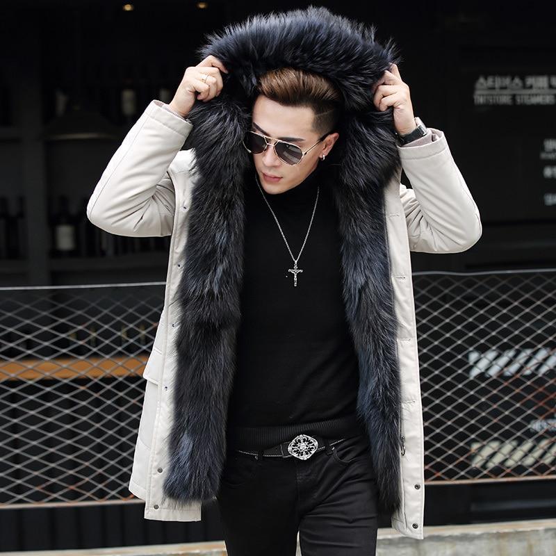 Men Real Raccoon Fur Liner Coat Winter Jacket Men Raccoon Fur Collar Long Coat Plus Size Parkas D-29-W-LP002 MY1174