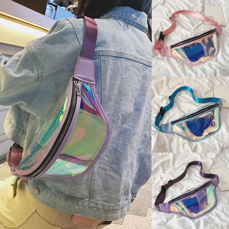 2019 Fashion Belt Bum Bag Waterproof Transparent Clear Punk Holographic Fanny Pack Laser Waist Pack For Women Money Belt Wallet