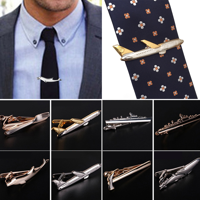 Men Trendy Tie Clips Cufflinks Metal Steamship Dolphin Airplane Tableware Tie Bar Wedding Party Jewelry Pin Clip Clasp Gifts image