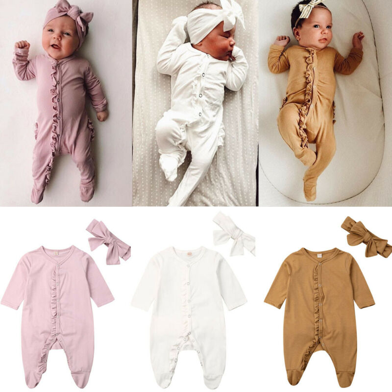 2019 Newborn Infant Baby Girl Boy Clothes Long Sleeve Ruffle Solid Cotton Romper Jumpsuit+Headband 2PCS Outfit 0-24M
