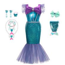 Muababy/платье Русалочки для девочек; Вечерние костюмы принцессы