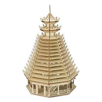 Chinese Tower DIY 3D Wooden Puzzle Woodcraft Assembly Kit Cutting Wood Toys For Christmas Gift 3073