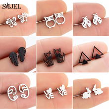 Punk Black Stainless Steel Stud Earrings Women Everyday Jewelry Cute Animal Rabbit Owl Face Leaf Triangle Earings Orecchini