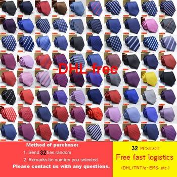 цена на DHL/FedEx/TNT/UPS  Free Shipping 32pcs/lot Tie for Man Wholesale Classic 8 CM Mans Tie 100% Silk Luxury Striped Business Necktie