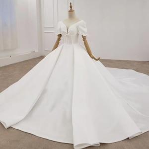 Image 3 - HTL1372 Deep V Wedding Dress Half Sleeve Luxury Wedding Dress Front And Cuff With Bow Wedding Gowns Ball trouwjurken