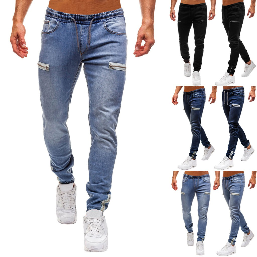 Zimaes-Men Hole Big and Tall Relaxed-Fit Washed Casual Denim Jeans