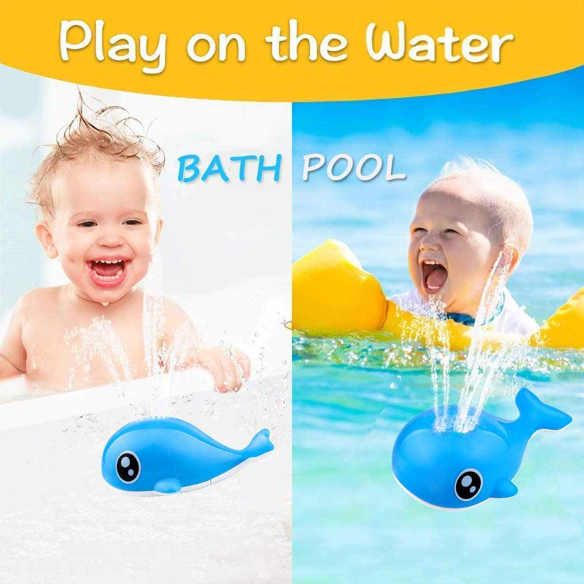 2 in 1 Induction Water Spray Whale Toy for Toddlers 3-4 Years Automatic Induction Whale Sprinkler with LED Light Musical Fountain Toy LINPING Electric Sprinkler Bathtub Toys Yellow