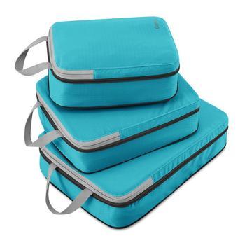 Gonex 3pcs/set Travel Storage Bag Suitcase Luggage Organizer Hanging Ziplock Clothing Compression Packing Cubes Boy Friend Gift