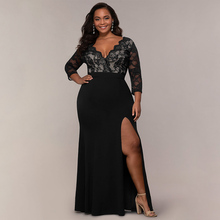 цены Plus Size Women's Sexy Party Dress Solid Fit And Flare Dress Summer V Neck Ldaies Lace Dresses Floor-Length Empire Dress Women
