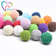 10 PCS 20 MM Wooden Crochet Beads Chewable Ball Beads DIY Wooden Teething Knitting Beads Jewelry Cri