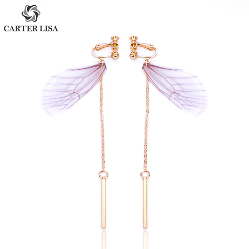 CARTER LISA Lightweight Animal Purple Dragonfly Wings Drop Dangle Earings For Women Girl Fashion Jewelry Party Christmas Gifts
