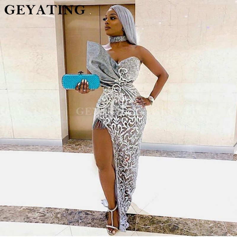 Silver Grey Lace Mermaid Prom Dresses Side Split Off Shoulder African Evening Gowns 2020 Pleat Long Party Gowns Abendkleider