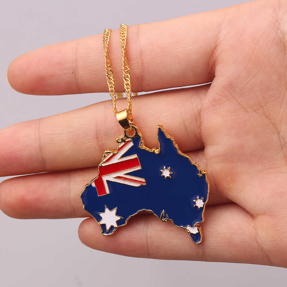 国旗パターンマップペンダントネックレス南スーダンオーストラリア金属ネックレスの宝石類のギフト男性女性
