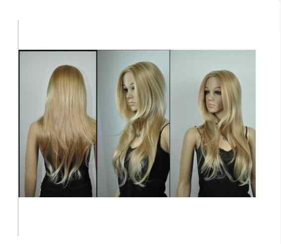 Zhaoxia + + 01474 @ Q8 + + Светло-русый коричневый микс длинный прямой косплей полный парик