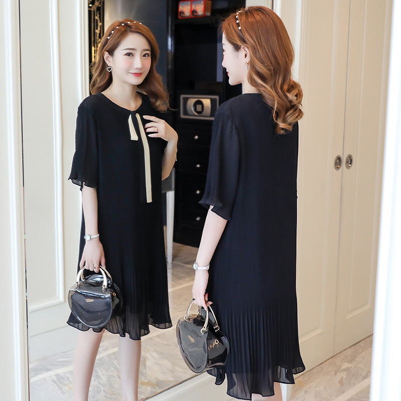 2019 Summer Maternity Dress Pleated Straight Chiffon Dress Pregnant Dresses For Pregnant Woman Pregnancy Clothing