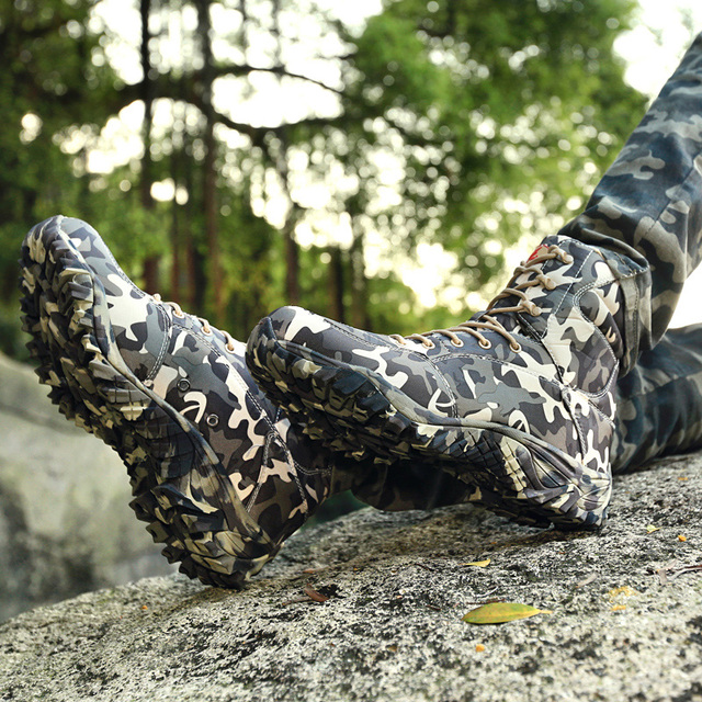 Men Military Tactical Boots Spring Waterproof Canvas Camo Camping Trekking Boot Man Climbing Outdoor Hiking Shoes 2