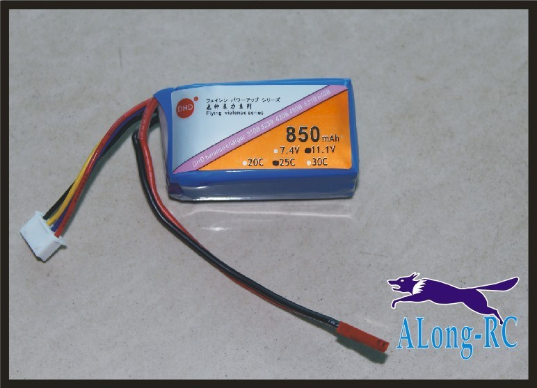 RC plane model airplane spare part li-po battery jst plug <font><b>3s</b></font> <font><b>850mah</b></font> 25C 11.1V850mah 3cells 11.1V 3D plane part image