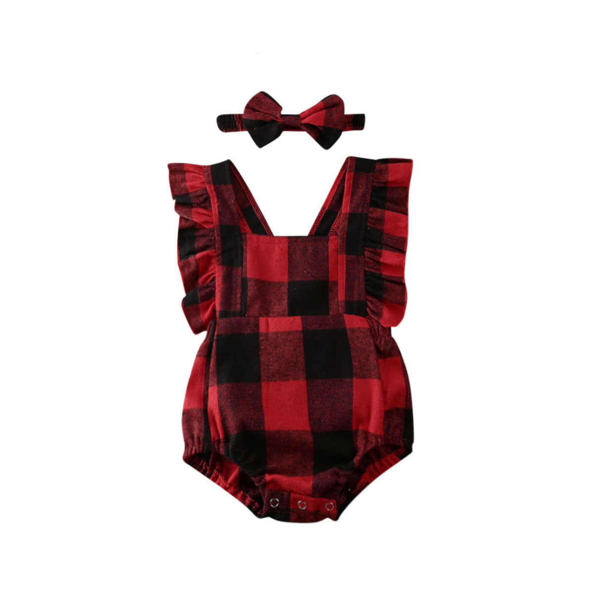 Newborn Baby Boy Girl Christmas Clothe Checks Plaid Romper Sleeveless Jumpsuit Headband Outfit Clothing