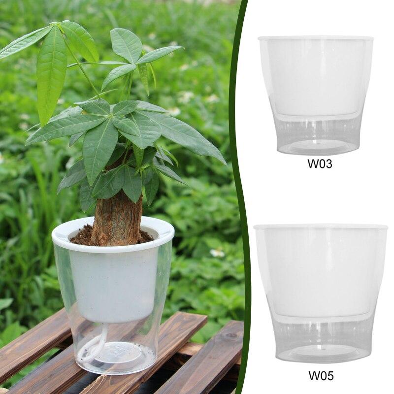 Flowerpot Plant Grow Basin Creative Convenient Plastic Transparent Self Watering Office Hydroponic Plants Garden Pot Balcony