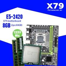 Xeon LGA 1356 E5 2420 C2 2x4GB = 8GB 1333MHz DDR3 ECC REG 메모리로 설정된 Kllisre X79 마더 보드