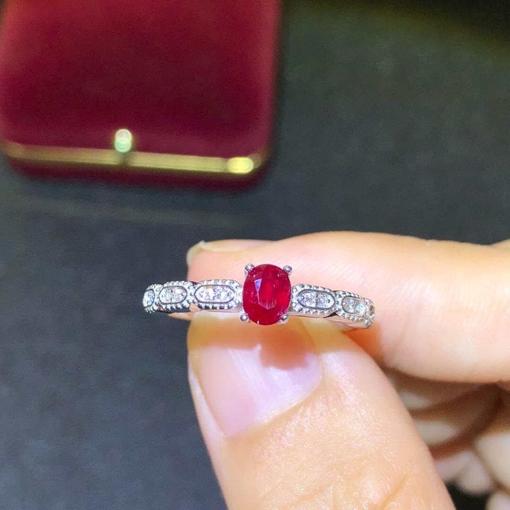 925 argent incrusté naturel pigeon sang rouge rubis anneau se réfère à la taille de la bague réglable pierre principale taille 4*5mm 925 bague en argent - 2
