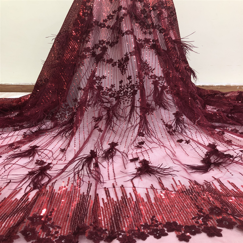 Luxury African Sequins Lace Fabric 2019 High Quality 3D Nigerian Party Tulle Tassel Lace Fabric For Wedding Evening Party Dress