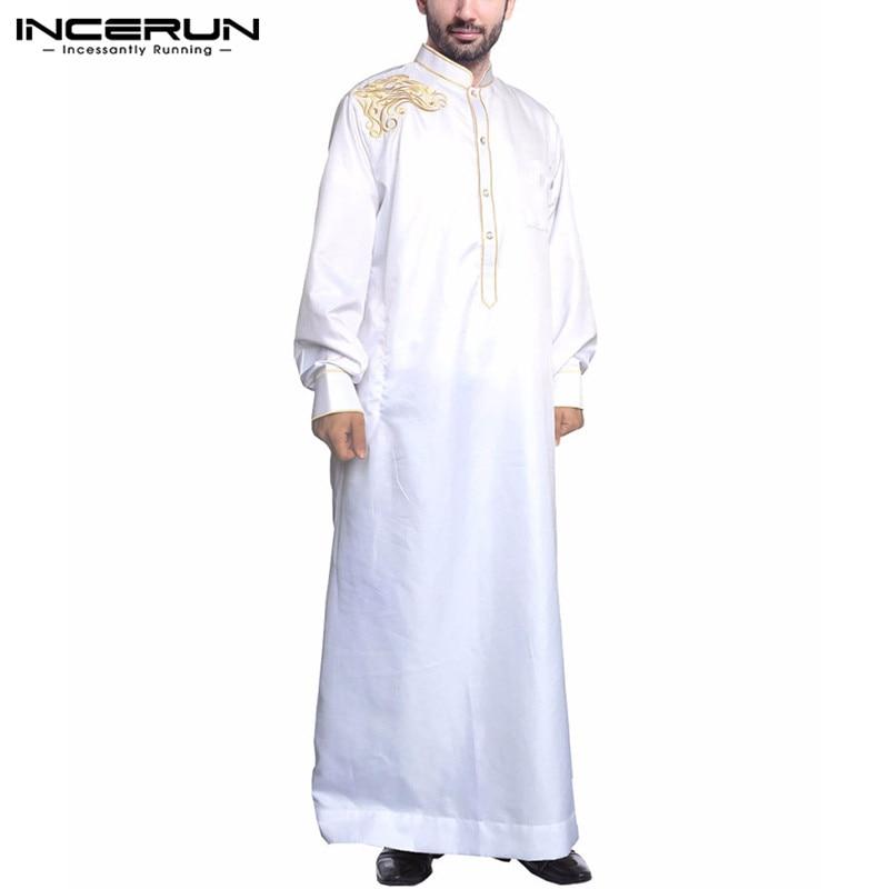 Fashion Men Islamic Arabic Kaftan Embroidery Elegant Jubba Thobe Stand Collar Long Sleeve Robes 2020 Muslim Men Caftan INCERUN