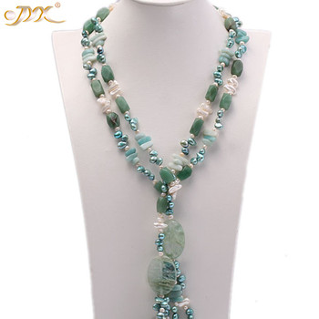 "JYX GREEN SUMMER!Fresh jade chips and pearl necklaces crystal 8*11mm crystal chain long 63"" delicate jewelry gift"