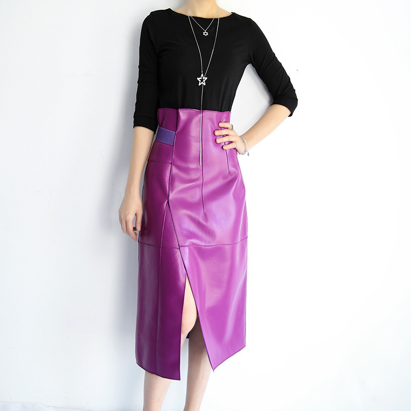 Genuine Leather Skirt Women Natural Real Sheepskin Sheep High Waist Long Luxury Runway Designer Ladies Skirts Plus Size
