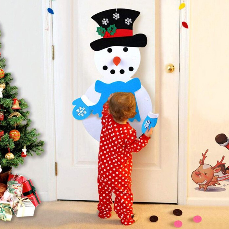 Christmas DIY Felt Christmas Cartoon Set With Stick-on Door Wall Hang Decoration Xmas Gift Kids Puzzle Toy