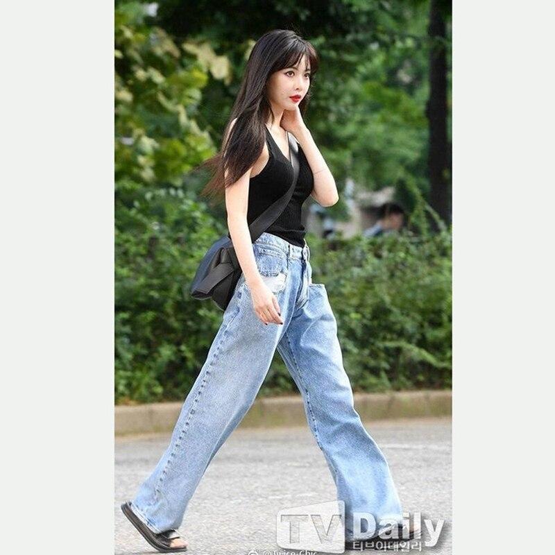 Kpop Kim Hyun A Same Street Style Light Blue Jeans Women Mid High Waisted Loose Wide Leg Long Pants Straight Jeans Trousers