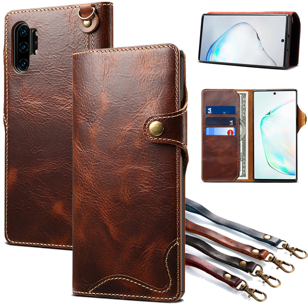 Wallet case For Samsung Galaxy s20 Ultra s8 s9 S10E S10 Note 8 9 10 Plus 5G Genuine Leather Flip Stand Cover Wrist strap Cases