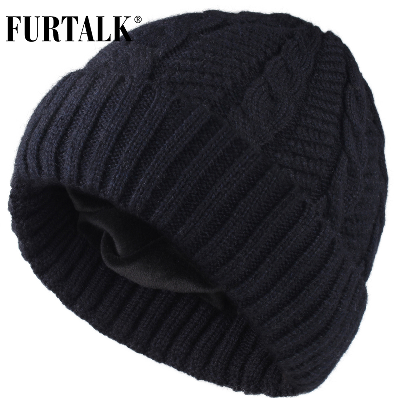 FURTALK Wool Mens Beanie Winter Hats For Men Women Velvet Knitted Beanie Hat Skullies Soft Warm Male Winter Hat Black Grey Cap
