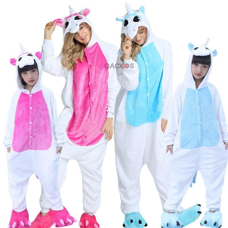 Зимняя пижама для девочек с единорогом Пижама для взрослых с рисунками животных Детская Фланелевая пижама с пандой кигуруми «Единорог», одежда для сна