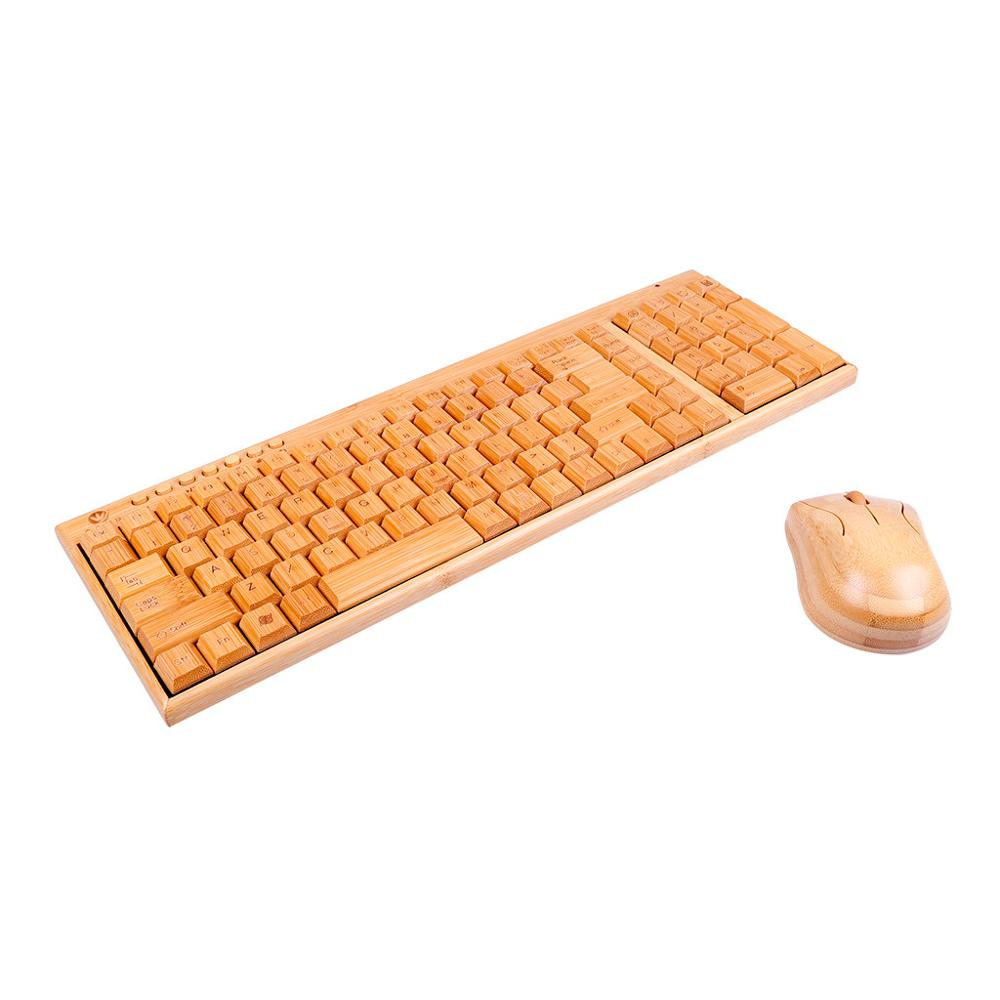2.4 GHz Wireless Bamboo PC Keyboard And Mouse Combo Combos Computer Keyboard Mice Office Handcrafted Natural Wooden Plug