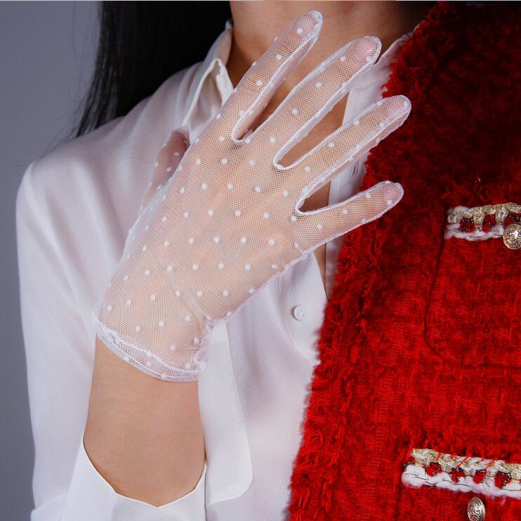 Women's Sexy Transparent Dot Print White Mesh Glove Female Summer Sunscreen Club Party Dancing Glove R1908