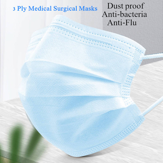 20-100 Pcs Anti-Flu Medical Surgical Mouth Masks Disposable Anti Bacterial Dust 3 Ply Filter Protective Medical Face Masks 3
