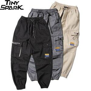 Image 3 - גברים רצים מטען Streetwear מכנסיים ירך ירך Harajuku הרמון מכנסיים 2019 סתיו מזדמן טקטי מכנסיים כיסי מסלול מכנסיים כותנה