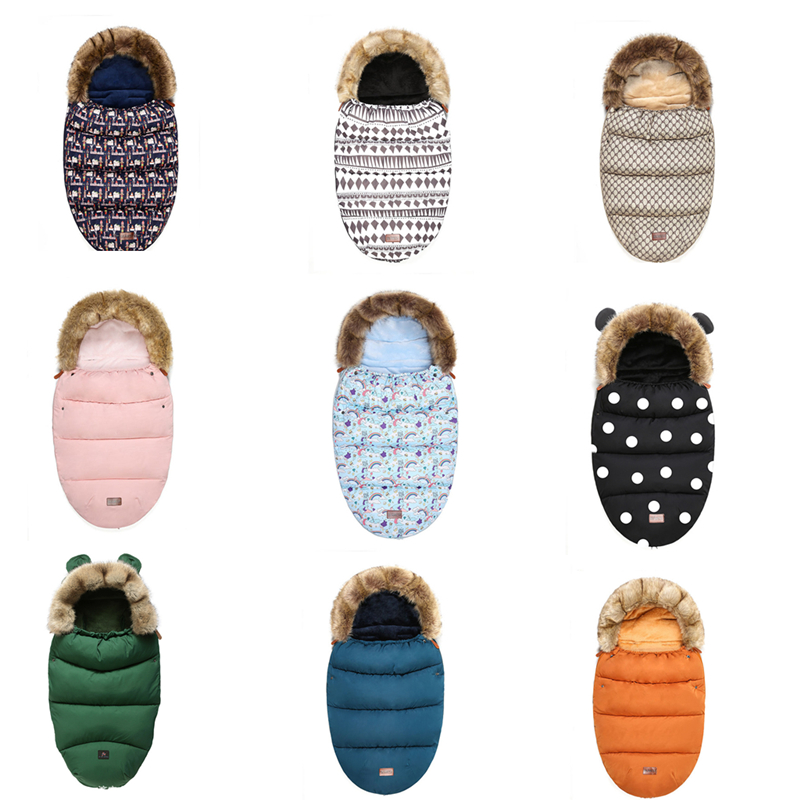 Winter Baby Stroller Sleeping Bag Thick Warm Infant Stroller Footmuff Wheelchair Newborn Warm Sleepsacks Envelope Sleepsacks