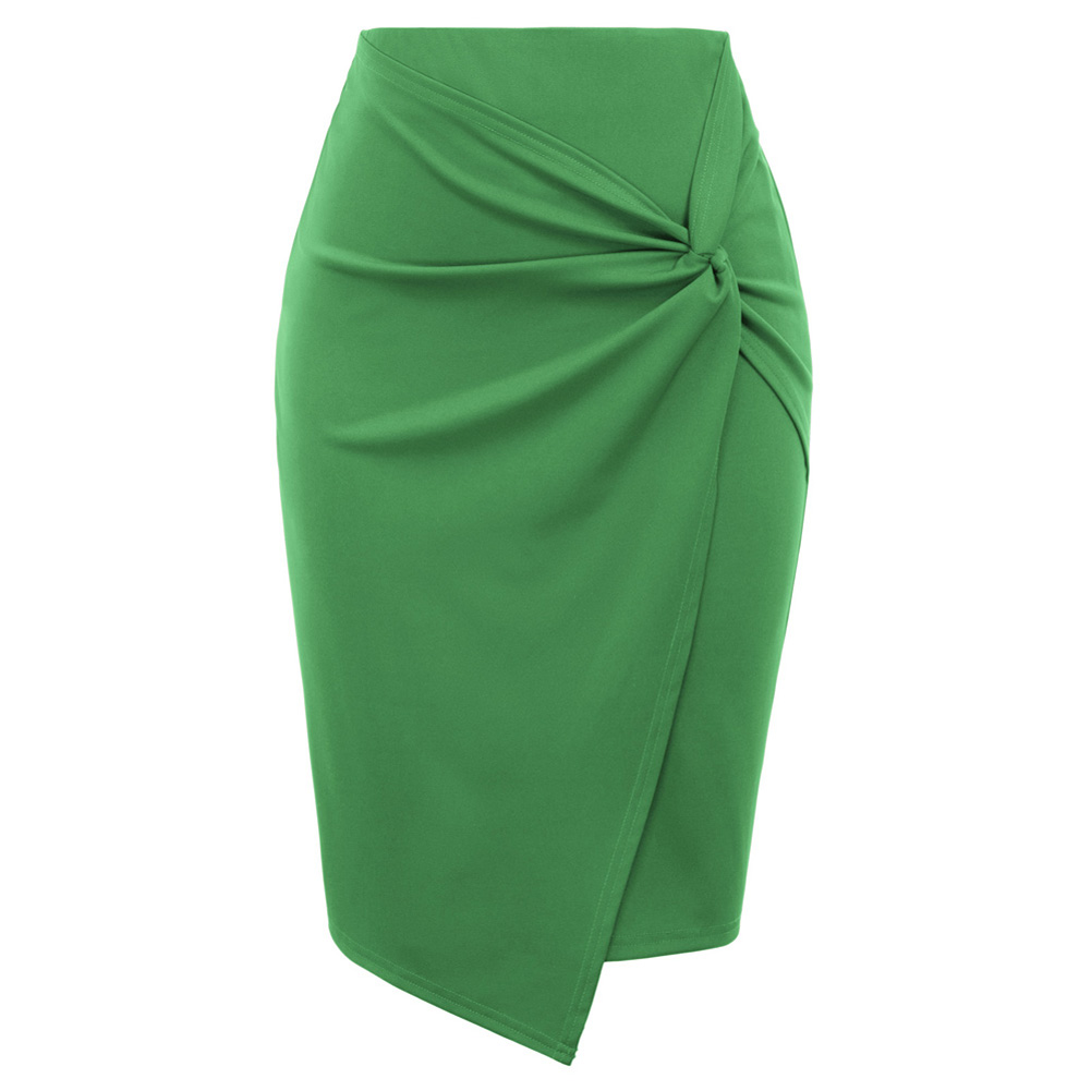 Kate Kasin Women's Solid Color Asymmetrical Wrap Front Stretchy Bodycon Pencil Skirt Fashion Lady Elegant Tight Skirts