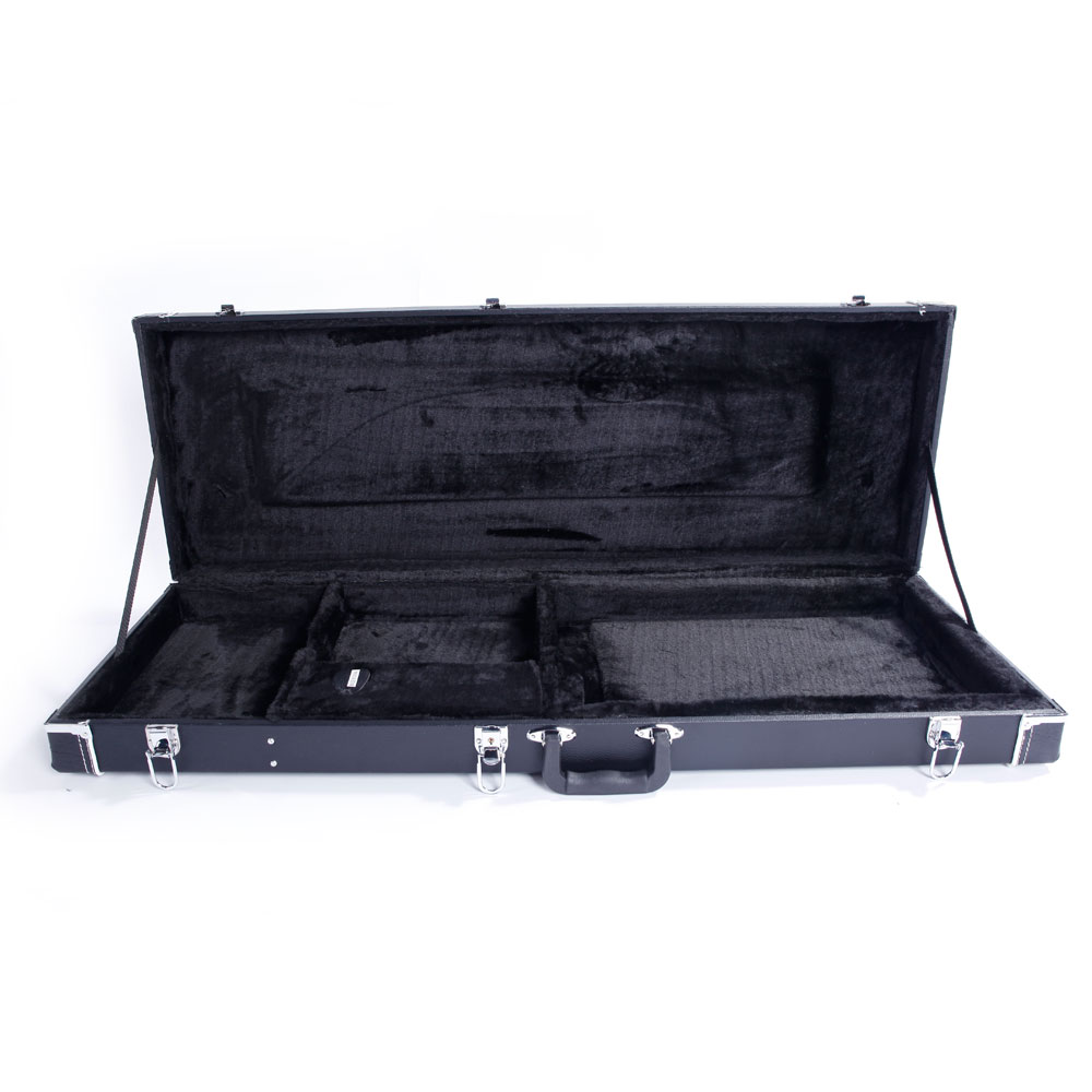 Wood Leather High Grade Electric Guitar Rectangle Hard Case Microgroove Flat 39.7