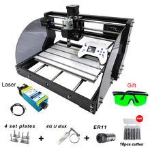 Mini routeur à bois, Machine à graver Laser 3 axes, bricolage CNC 3018 Pro Max avec contrôleur hors ligne, Mini routeur à bois 0.5-15W